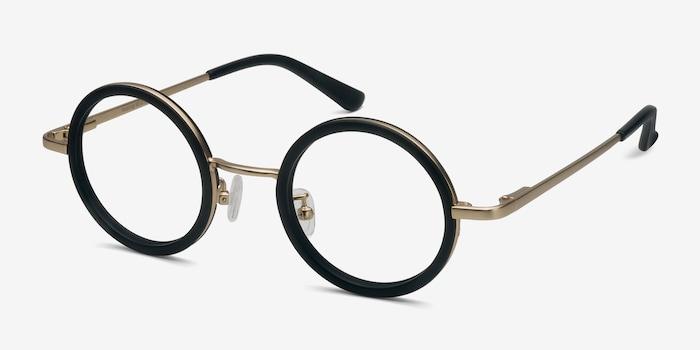 Roaring Black Acetate Eyeglass Frames from EyeBuyDirect, Angle View