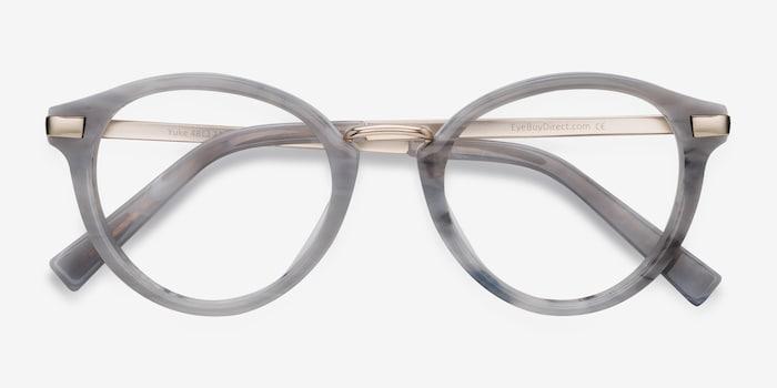Yuke Light Gray Acetate Eyeglass Frames from EyeBuyDirect, Closed View