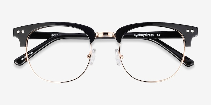 Borderline Black Acetate Eyeglass Frames from EyeBuyDirect, Closed View