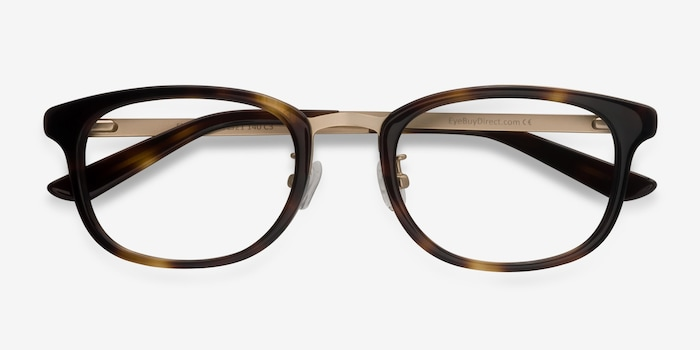 First Light Tortoise Acetate Eyeglass Frames from EyeBuyDirect, Closed View