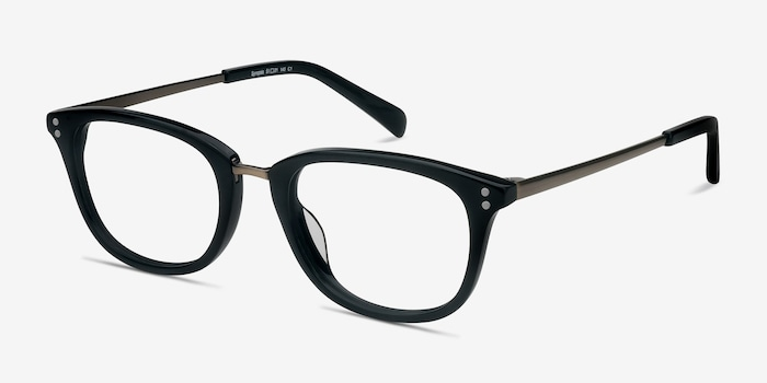Synopsis Black Acetate Eyeglass Frames from EyeBuyDirect, Angle View