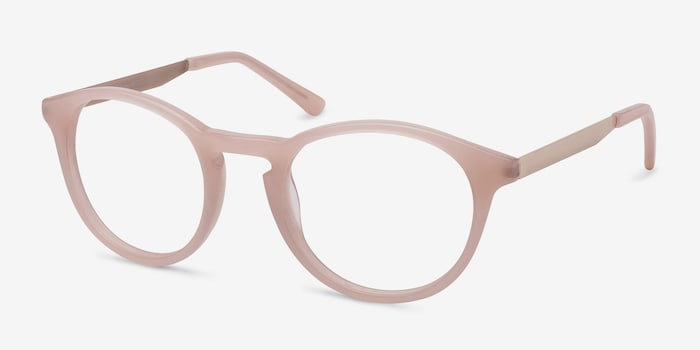 White Moon Pink Acetate Eyeglass Frames from EyeBuyDirect, Angle View