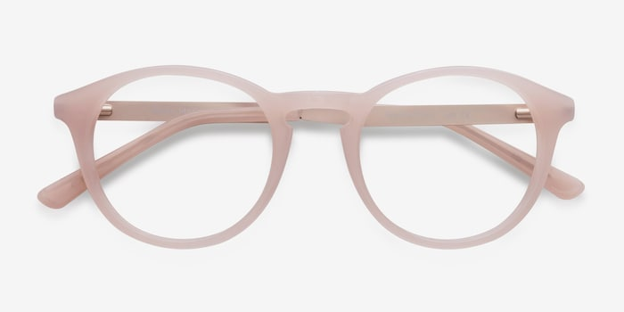 White Moon Pink Acetate Eyeglass Frames from EyeBuyDirect, Closed View