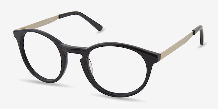 White Moon Black Acetate Eyeglass Frames from EyeBuyDirect, Angle View