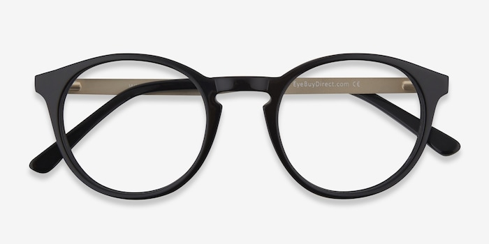 White Moon Black Acetate Eyeglass Frames from EyeBuyDirect, Closed View