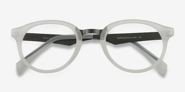Aisu Matte White Métal Montures de Lunettes d'EyeBuyDirect, Vue Rapprochée