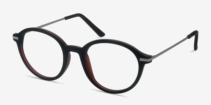 Juno Matte Brown Metal Eyeglass Frames from EyeBuyDirect, Angle View