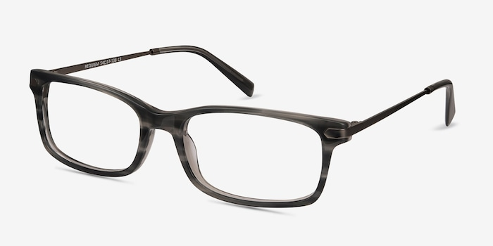 Requiem Gray Striped Acetate Eyeglass Frames from EyeBuyDirect, Angle View