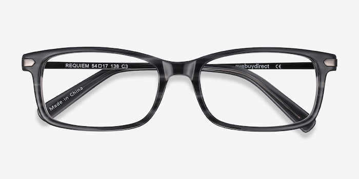 Requiem Gray Striped Acetate Eyeglass Frames from EyeBuyDirect, Closed View