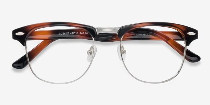 Coexist Tortoise Metal Eyeglass Frames from EyeBuyDirect, Closed View