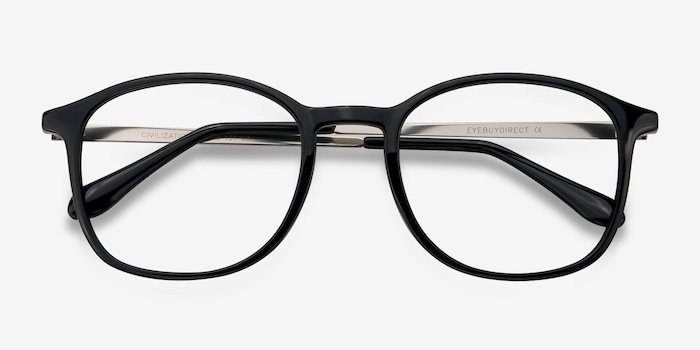 Civilization Black Metal Eyeglass Frames from EyeBuyDirect, Closed View