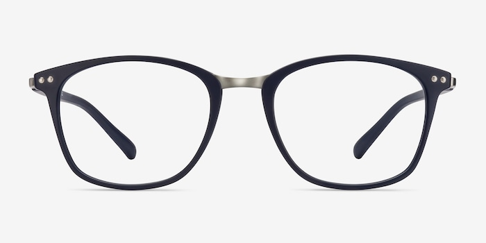 Savannah Matte Navy Metal Eyeglass Frames from EyeBuyDirect, Front View