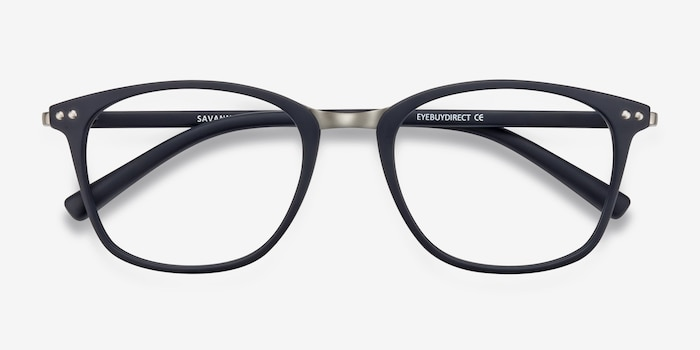 Savannah Matte Navy Metal Eyeglass Frames from EyeBuyDirect, Closed View
