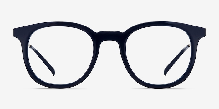 Chance Navy Metal Eyeglass Frames from EyeBuyDirect, Front View