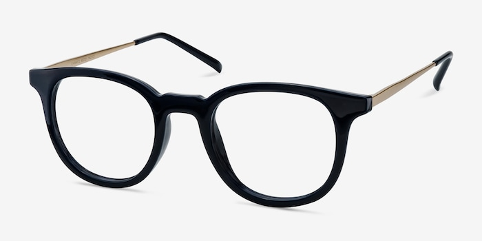 Chance Navy Metal Eyeglass Frames from EyeBuyDirect, Angle View
