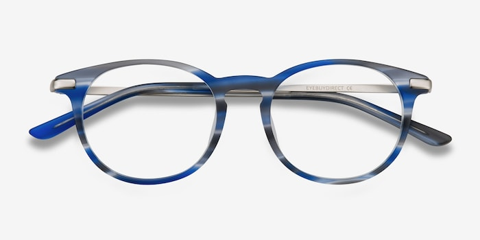 Mood Blue Striped Acetate Eyeglass Frames from EyeBuyDirect, Closed View