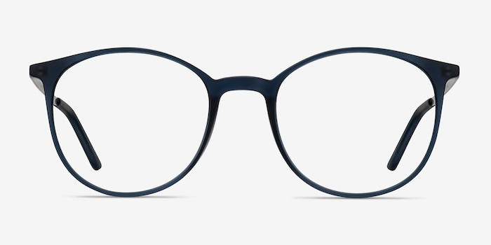 Tangent Navy Metal Eyeglass Frames from EyeBuyDirect, Front View