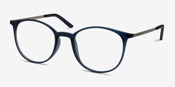 Tangent Navy Metal Eyeglass Frames from EyeBuyDirect, Angle View