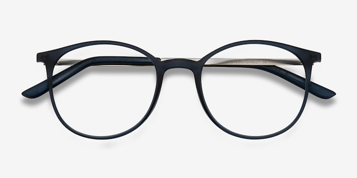 Tangent Navy Metal Eyeglass Frames from EyeBuyDirect, Closed View