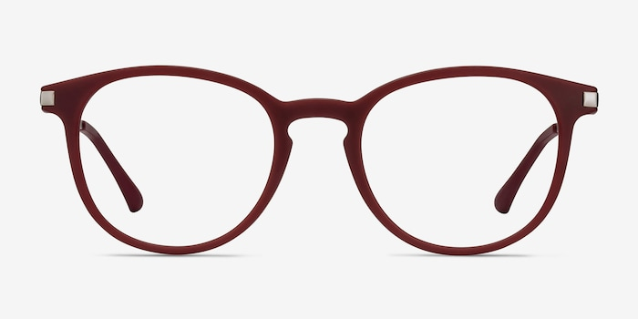 Mirando Raspberry Metal Eyeglass Frames from EyeBuyDirect, Front View