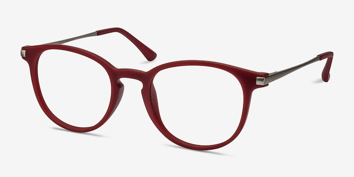Mirando Raspberry Metal Eyeglass Frames from EyeBuyDirect, Angle View