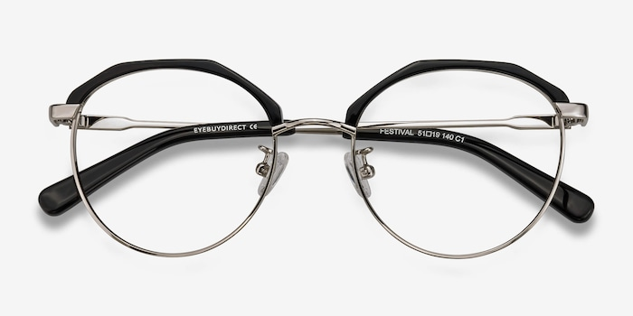 Festival Black Acetate Eyeglass Frames from EyeBuyDirect, Closed View