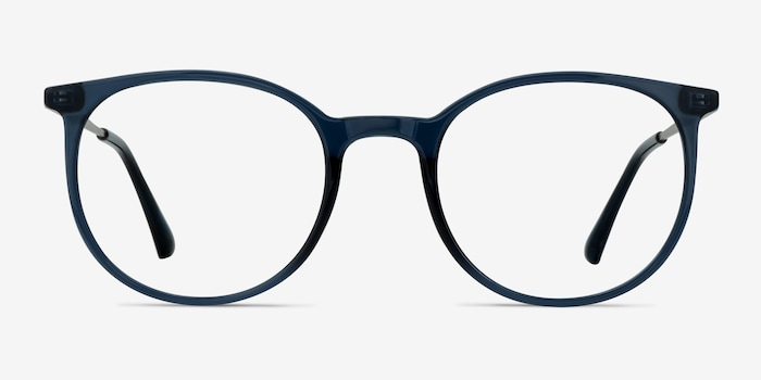 Marilou Clear Cobalt Metal Eyeglass Frames from EyeBuyDirect, Front View
