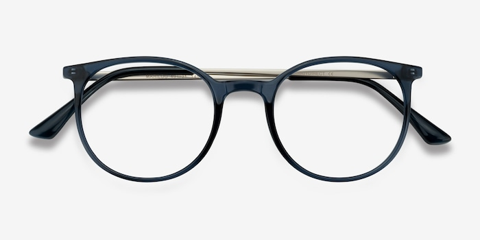 Marilou Clear Cobalt Metal Eyeglass Frames from EyeBuyDirect, Closed View