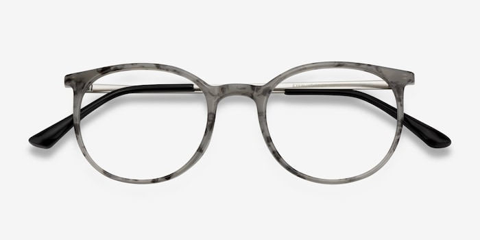 Marilou Marble Slate Metal Eyeglass Frames from EyeBuyDirect, Closed View