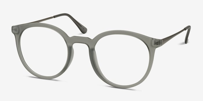 Grin Matte Gray Metal Eyeglass Frames from EyeBuyDirect, Angle View