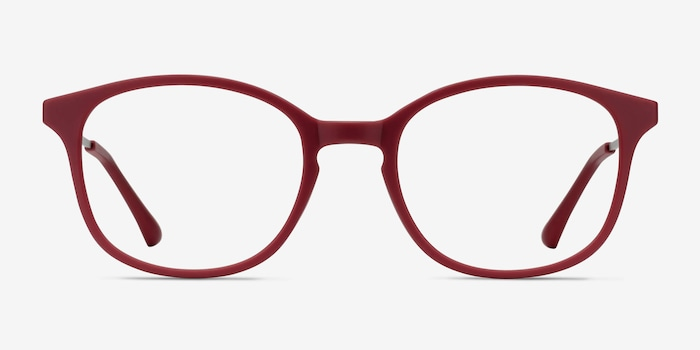 Villa Raspberry Metal Eyeglass Frames from EyeBuyDirect, Front View