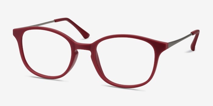 Villa Raspberry Metal Eyeglass Frames from EyeBuyDirect, Angle View