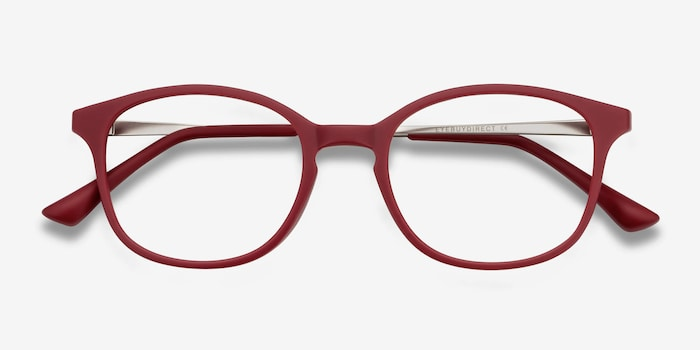 Villa Raspberry Metal Eyeglass Frames from EyeBuyDirect, Closed View