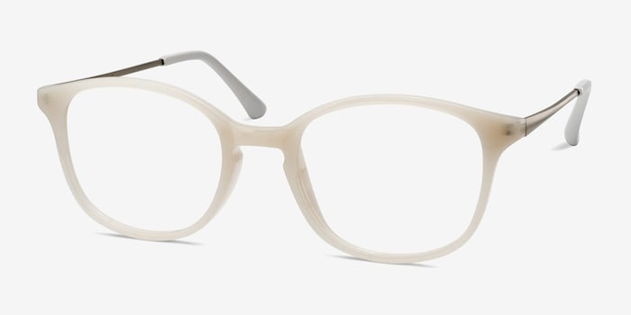 Villa White Metal Eyeglass Frames from EyeBuyDirect, Angle View