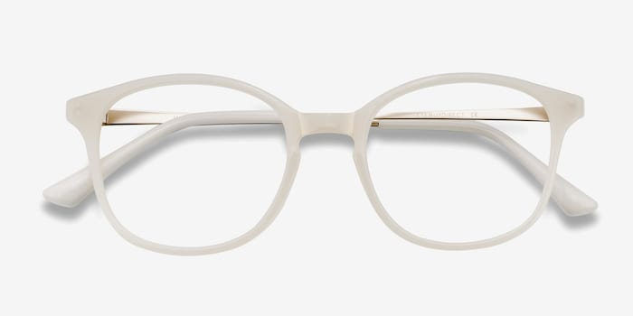 Villa White Metal Eyeglass Frames from EyeBuyDirect, Closed View