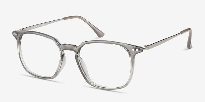 Ghostwriter Gray Metal Eyeglass Frames from EyeBuyDirect, Angle View