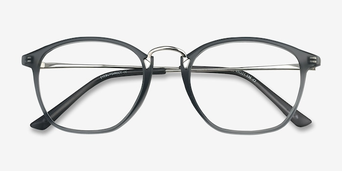 Crave Matte Gray Metal Eyeglass Frames from EyeBuyDirect, Closed View
