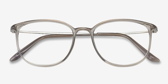 Strike Clear Gray Metal Eyeglass Frames from EyeBuyDirect, Closed View
