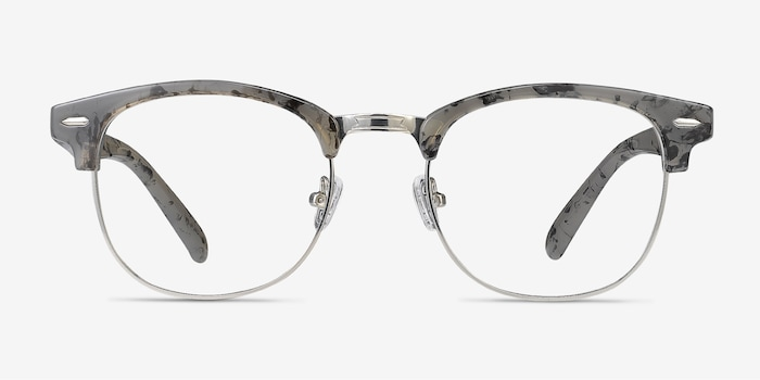 Roots Speckled Gray Metal Eyeglass Frames from EyeBuyDirect, Front View