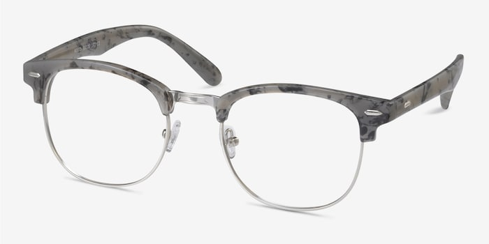Roots Speckled Gray Metal Eyeglass Frames from EyeBuyDirect, Angle View
