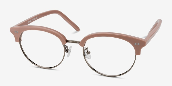 Annabel Pink Acetate Eyeglass Frames from EyeBuyDirect, Angle View