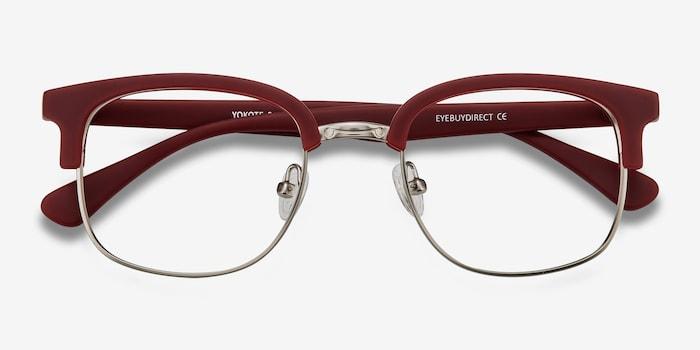 Yokote Matte Burgundy Metal Eyeglass Frames from EyeBuyDirect, Closed View