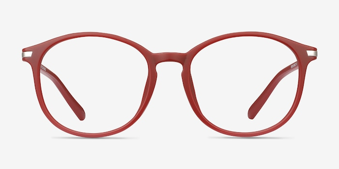 Lindsey Burgundy Metal Eyeglass Frames from EyeBuyDirect, Front View