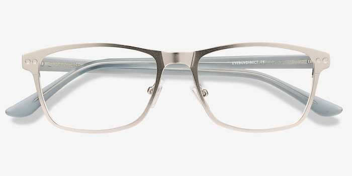 Comity Silver Acetate Eyeglass Frames from EyeBuyDirect, Closed View