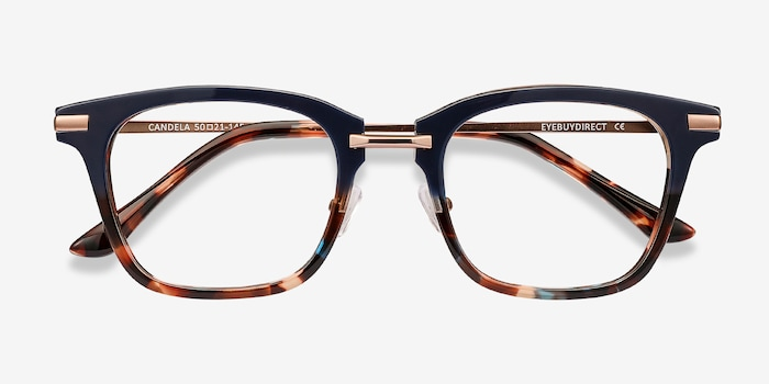Candela Blue Floral Acetate Eyeglass Frames from EyeBuyDirect, Closed View