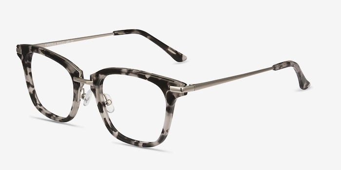 Candela Gray Floral Acetate Eyeglass Frames from EyeBuyDirect, Angle View
