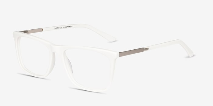 Instance White Acetate Eyeglass Frames from EyeBuyDirect, Angle View