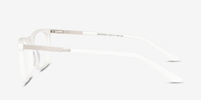 Instance White Acetate Eyeglass Frames from EyeBuyDirect, Side View