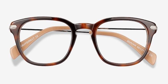 Quazar Tortoise Acetate Eyeglass Frames from EyeBuyDirect, Closed View