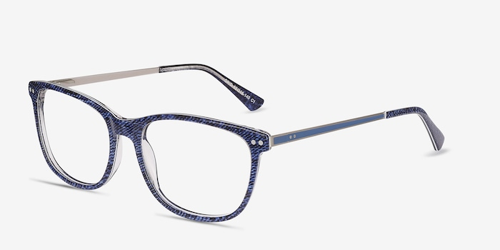 Grid Blue Acetate Eyeglass Frames from EyeBuyDirect, Angle View